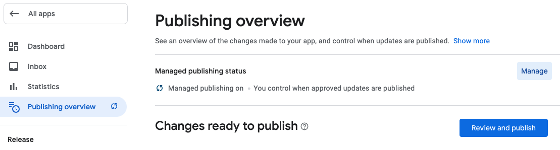 Managed publishing